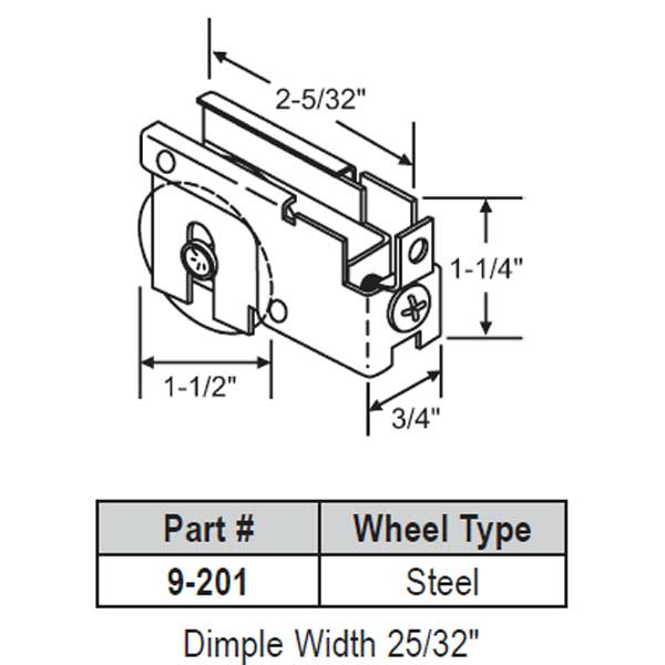 Patio Door Roller 9-201