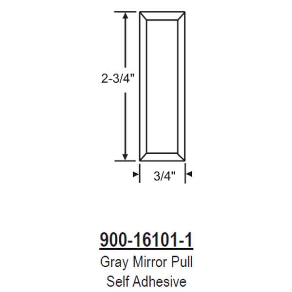 Gray Mirror Pull Self Adhesive 900-16101-1