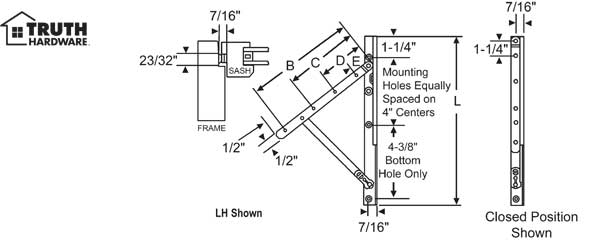 Truth 13 Concealed Awning Hinge