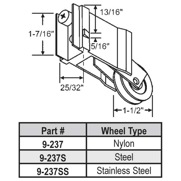 Patio Door Roller 9-237S