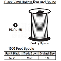 Black Vinyl Hollow Round Spline 66-71