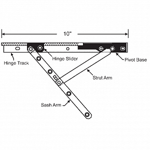 10inch Casement Hinge Arm - Track 28-10-23 2