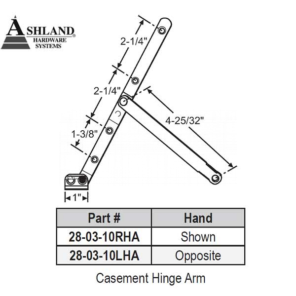 Ashland Casement Hinge Arm 28-03-10ss-RHA 1