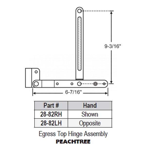 Egress Top Hinge Assembly 28-82RH 1