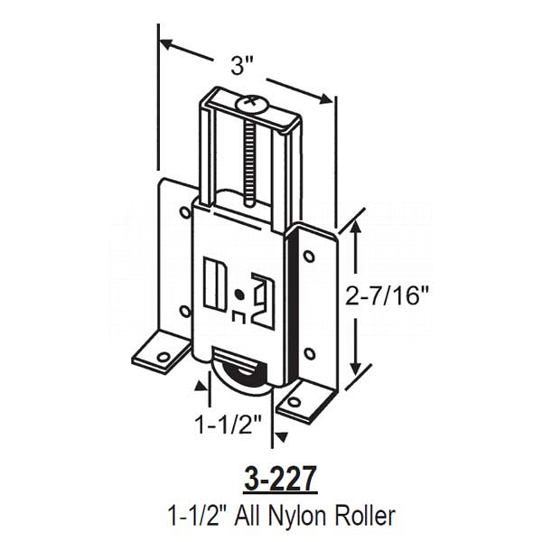 Closet Door Roller Assembly 3-227 1