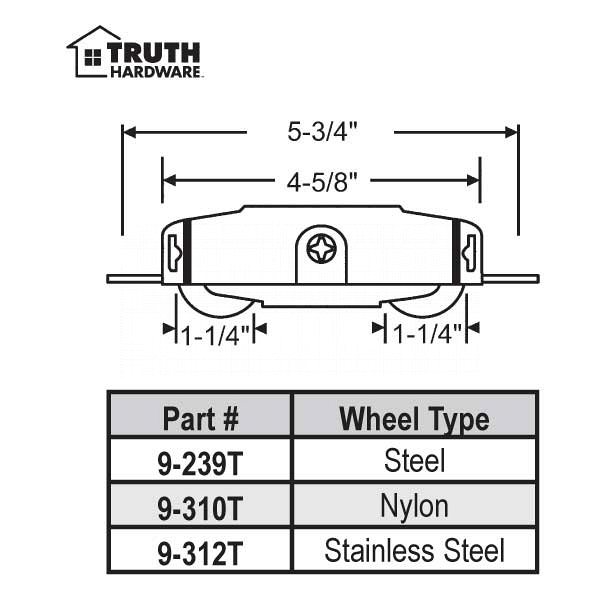 Truth Tandem Patio Door Roller 9-312T 2
