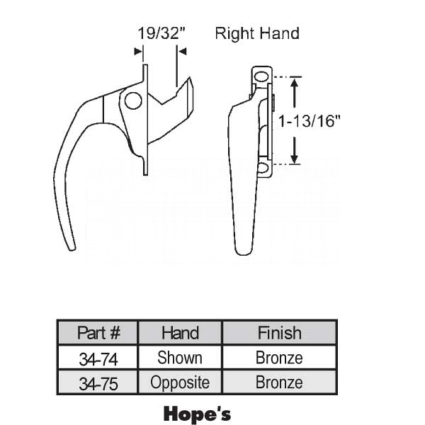 Casement Handle 34-74 1