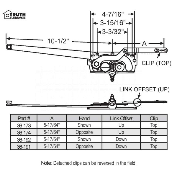 Sill Mounted Casement Operators 36-173 1