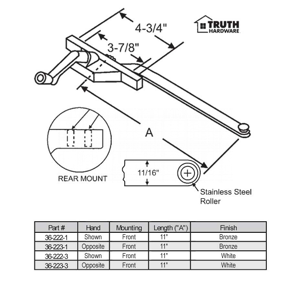 Front and Rear Mount Casement Operator 36-222-1 1