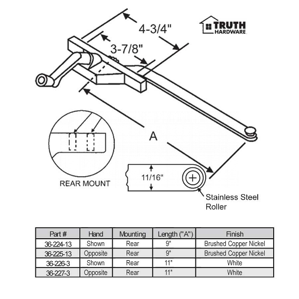 Rear Mount Casement Operator 36-225-13 1