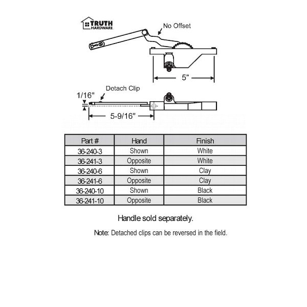 Rear Mount Casement Operators 36-240-6 2