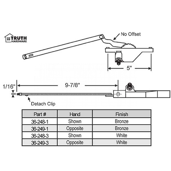 Rear Mount Casement Operator 36-249-3 1