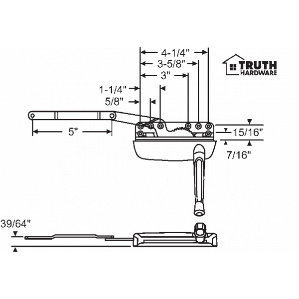 Sill Mounted Casement Operator 36-374-1 1