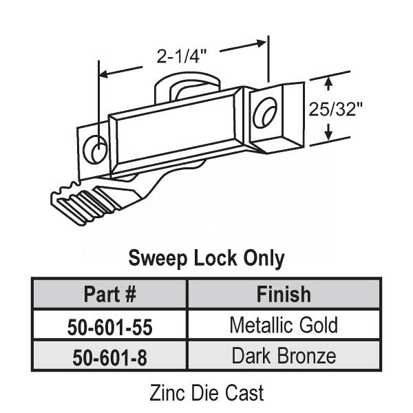 Sweep and Sash lock 50-601-8 1