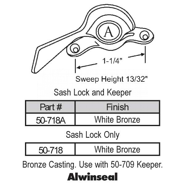 Sweep and Sash locks 50-718A 1