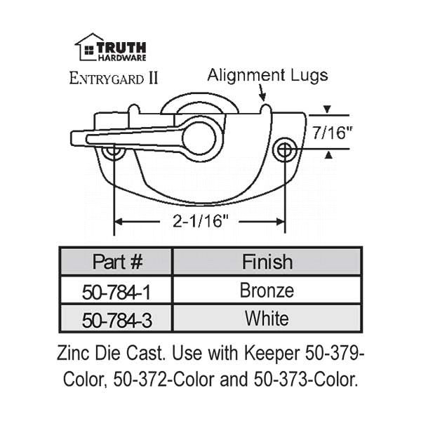 Sweep and Sash lock 50-784-3 1