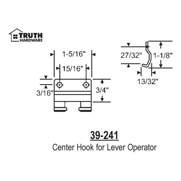 Center Hook for Lever Operator 39-241